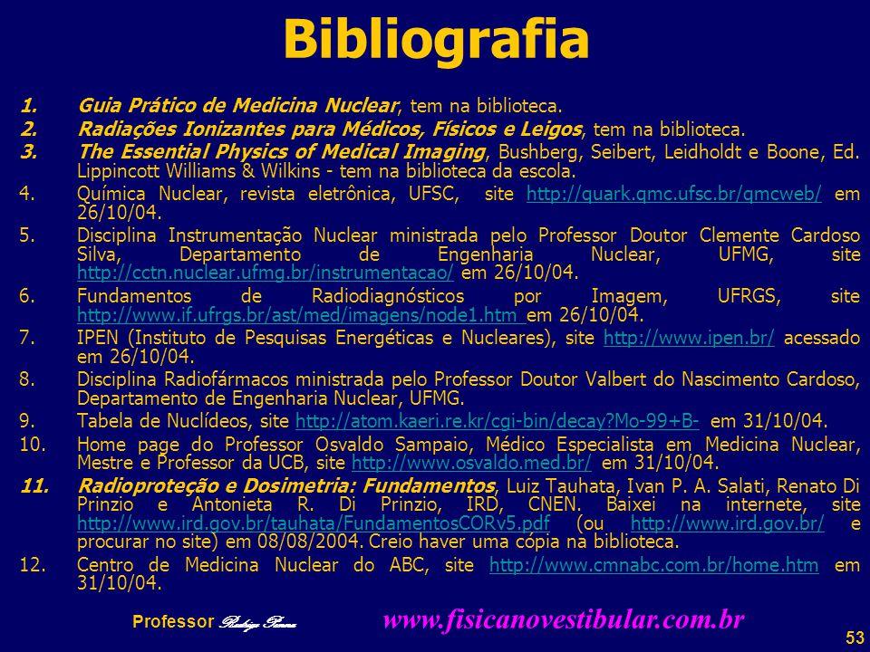 53 Bibliografia 1.Guia Prático de Medicina Nuclear, tem na biblioteca.