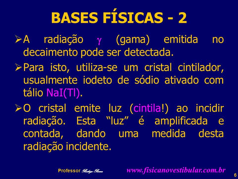 6 BASES FÍSICAS - 2  A radiação  (gama) emitida no decaimento pode ser detectada.