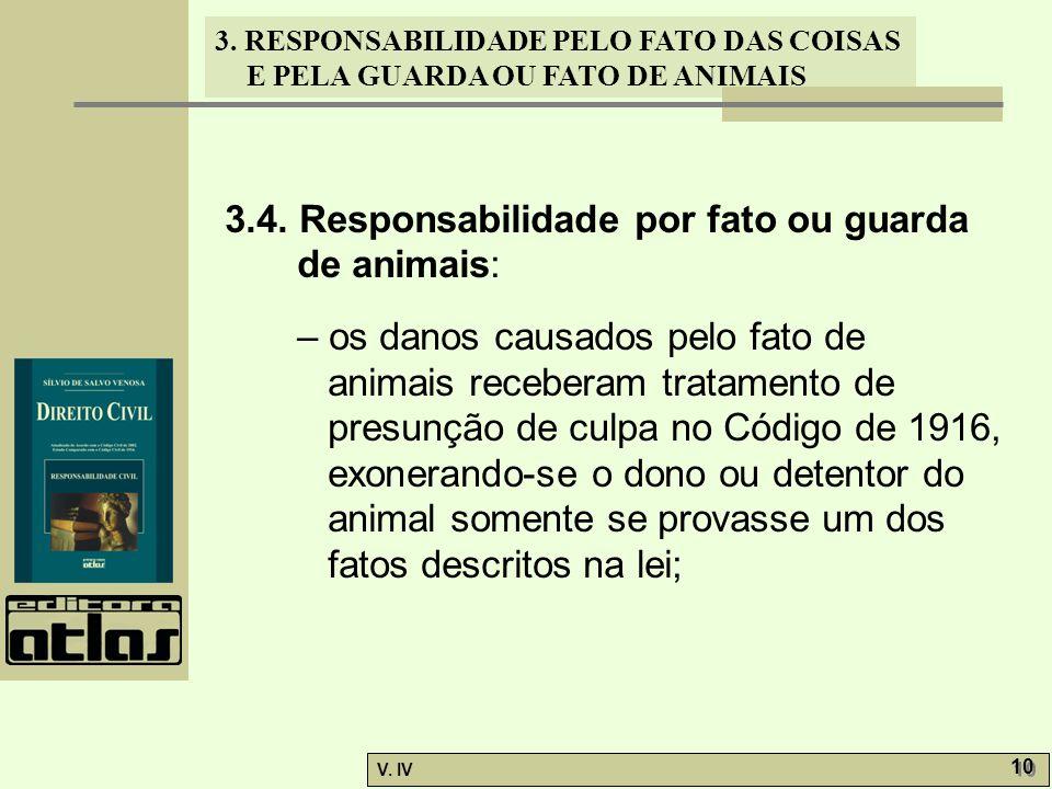 3. RESPONSABILIDADE PELO FATO DAS COISAS E PELA GUARDA OU FATO DE ANIMAIS V. IV 10 3.4. Responsabilidade por fato ou guarda de animais: – os danos cau