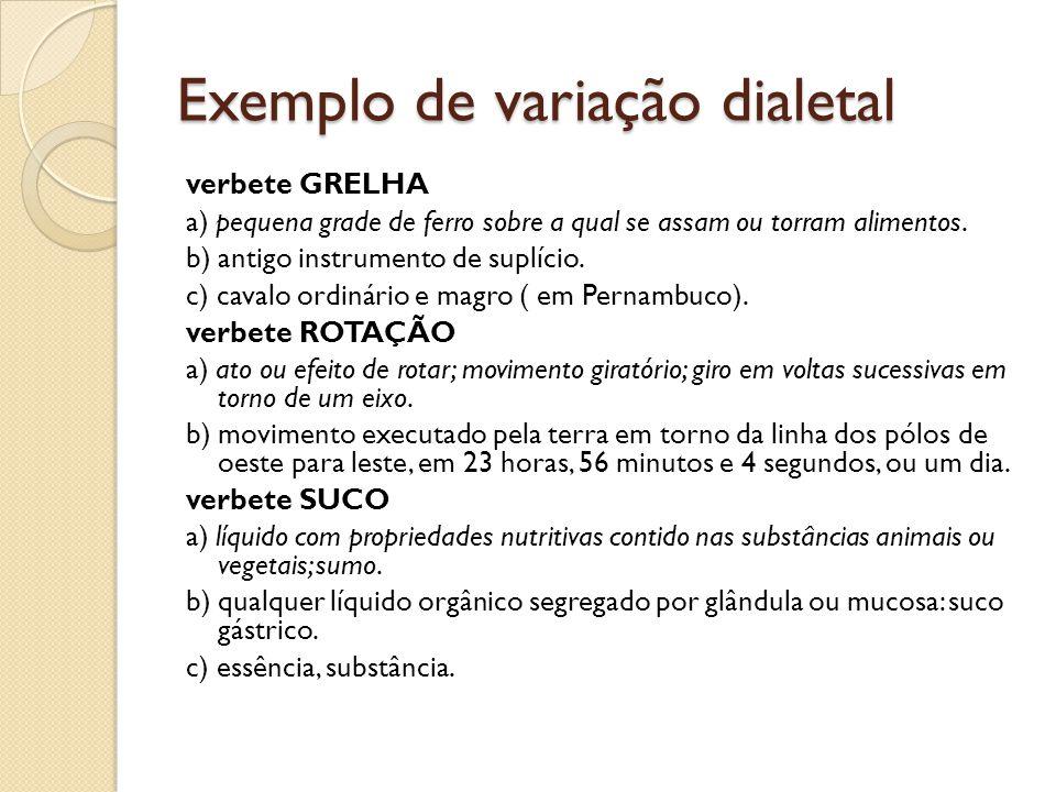 Exemplo de variação dialetal verbete GRELHA a) pequena grade de ferro sobre a qual se assam ou torram alimentos.