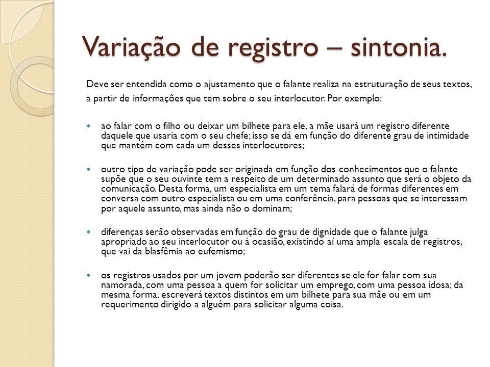 Variação de registro – sintonia.