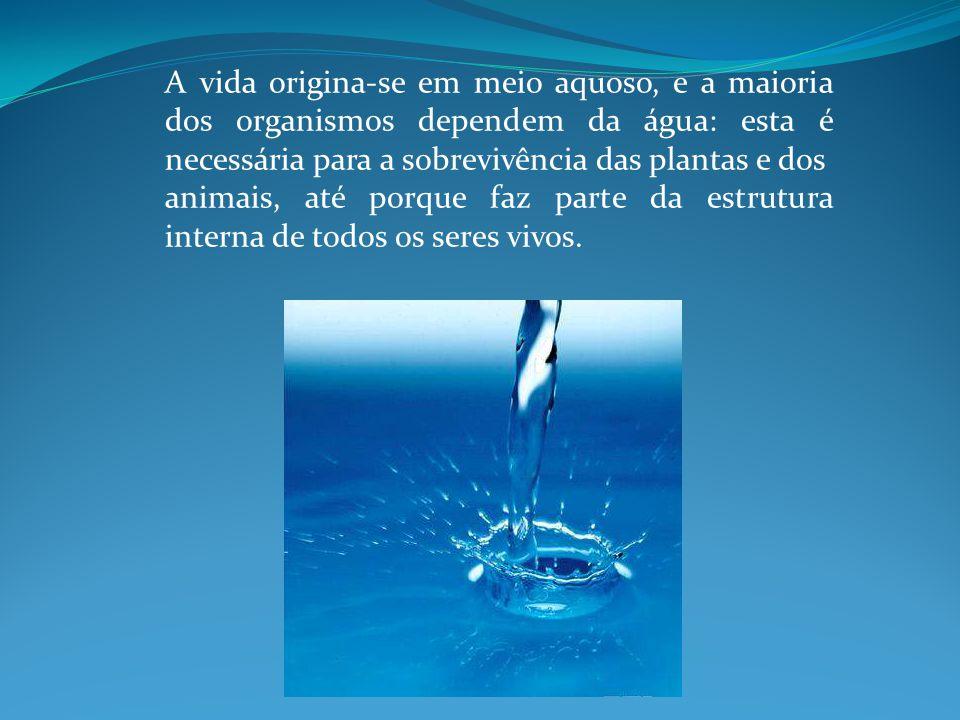 A vida origina-se em meio aquoso, e a maioria dos organismos dependem da água: esta é necessária para a sobrevivência das plantas e dos animais, até porque faz parte da estrutura interna de todos os seres vivos.