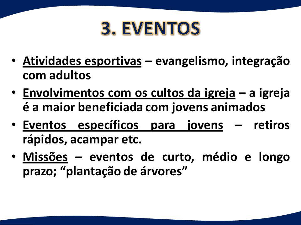 Cultos de mocidade: reuniões de jovens e adolescentes acontecem a cada 15 dias ou uma vez por mês.