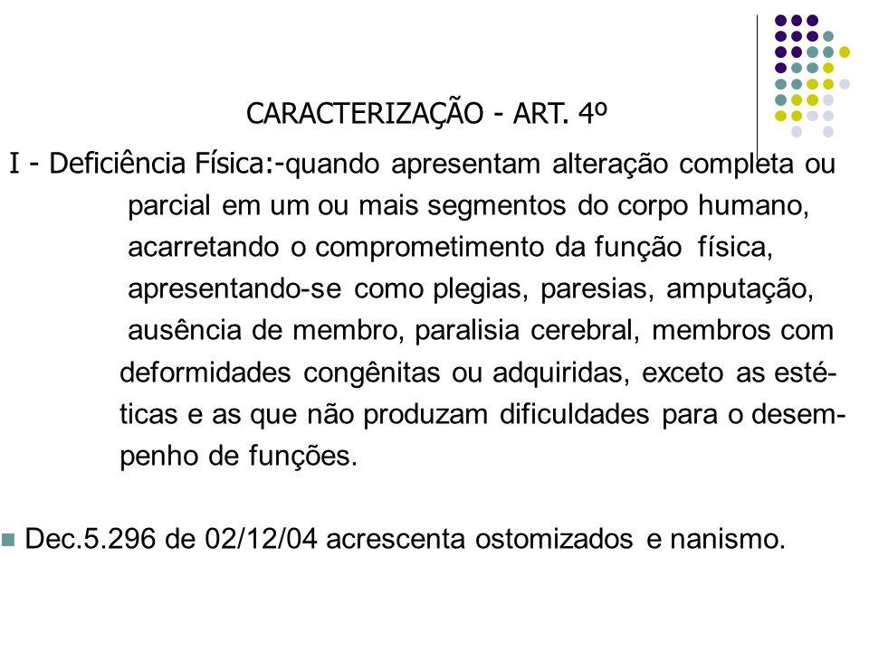 CARACTERIZAÇÃO - ART. 4º I - Deficiência Física:- quando apresentam alteração completa ou parcial em um ou mais segmentos do corpo humano, acarretando