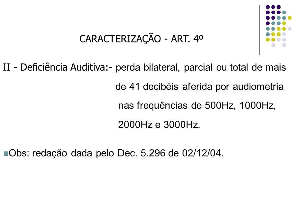 CARACTERIZAÇÃO - ART. 4º II - Deficiência Auditiva:- perda bilateral, parcial ou total de mais de 41 decibéis aferida por audiometria nas frequências