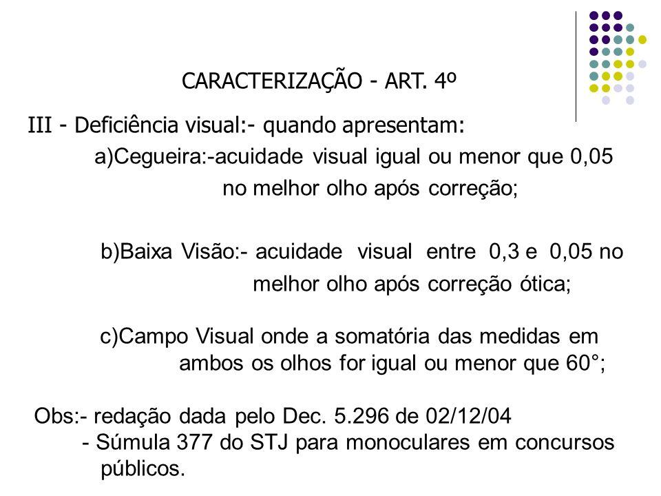 CARACTERIZAÇÃO - ART. 4º III - Deficiência visual:- quando apresentam: a)Cegueira:-acuidade visual igual ou menor que 0,05 no melhor olho após correçã