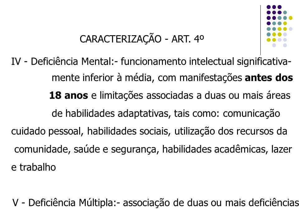 CARACTERIZAÇÃO - ART. 4º IV - Deficiência Mental:- funcionamento intelectual significativa- mente inferior à média, com manifestações antes dos 18 ano