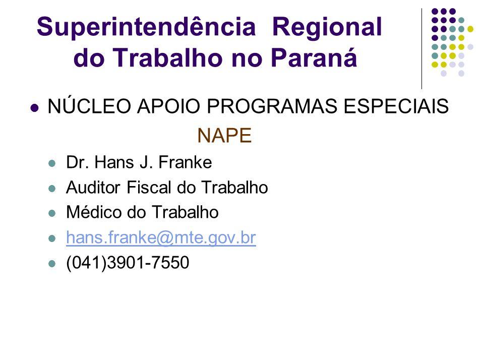 Superintendência Regional do Trabalho no Paraná NÚCLEO APOIO PROGRAMAS ESPECIAIS NAPE Dr. Hans J. Franke Auditor Fiscal do Trabalho Médico do Trabalho