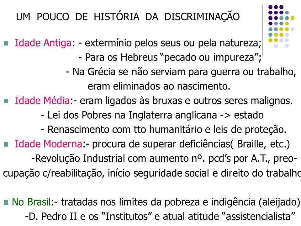 """UM POUCO DE HISTÓRIA DA DISCRIMINAÇÃO Idade Antiga: - extermínio pelos seus ou pela natureza; - Para os Hebreus """"pecado ou impureza""""; - Na Grécia se n"""