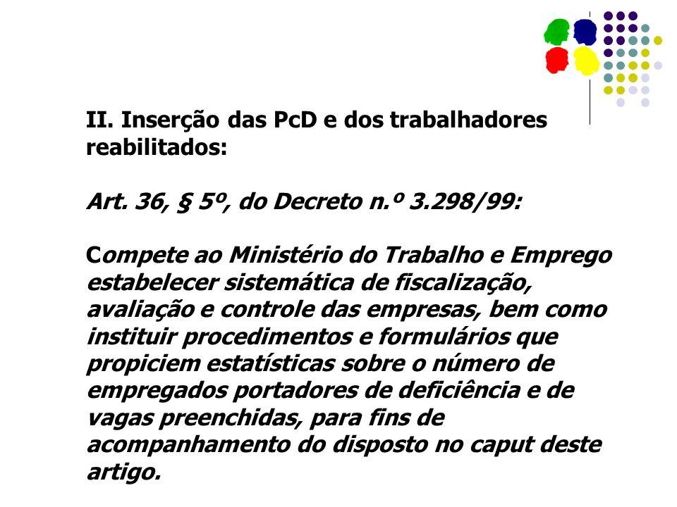 II. Inserção das PcD e dos trabalhadores reabilitados: Art. 36, § 5º, do Decreto n.º 3.298/99: Compete ao Ministério do Trabalho e Emprego estabelecer