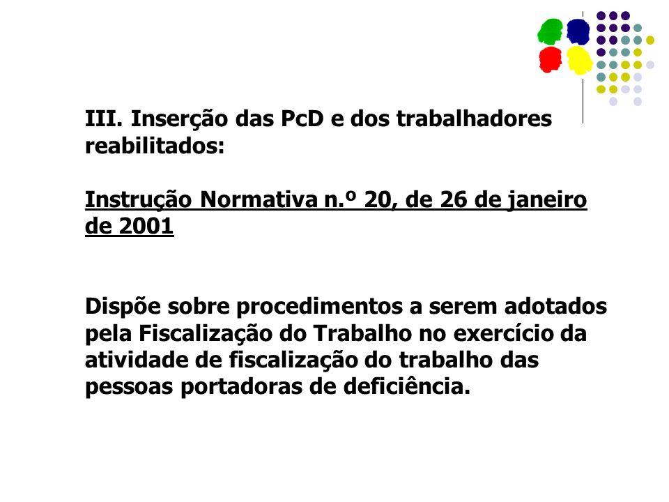 III. Inserção das PcD e dos trabalhadores reabilitados: Instrução Normativa n.º 20, de 26 de janeiro de 2001 Dispõe sobre procedimentos a serem adotad