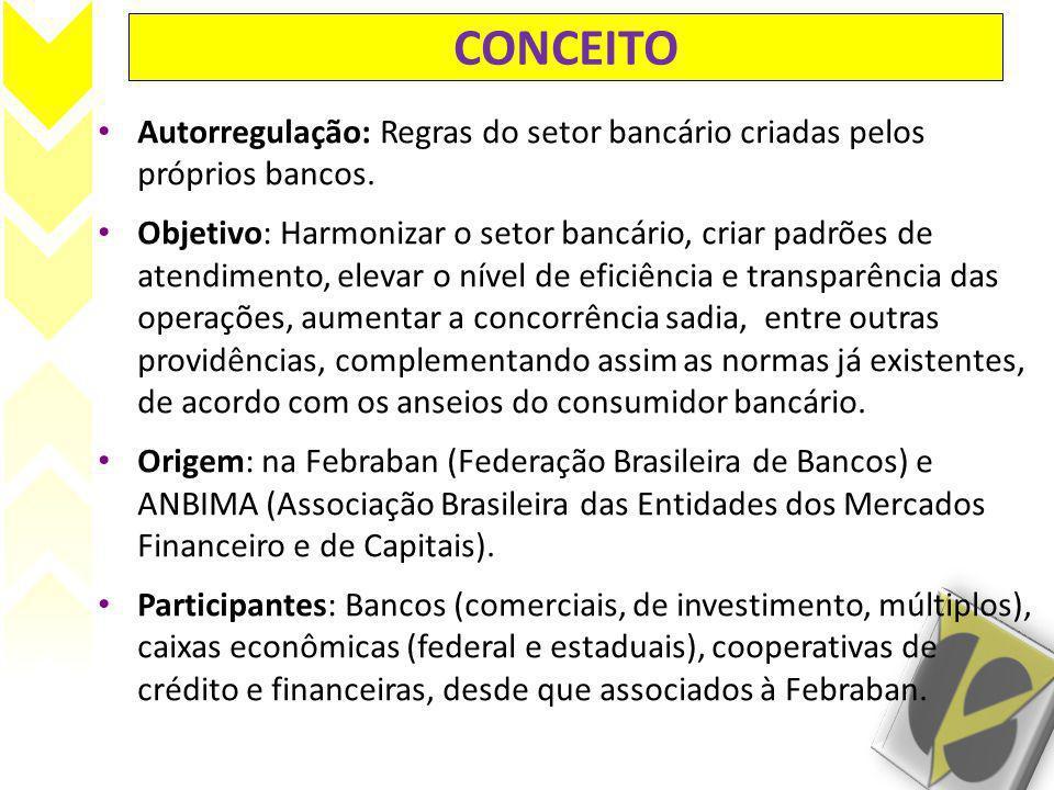 CONCEITO Autorregulação: Regras do setor bancário criadas pelos próprios bancos. Objetivo: Harmonizar o setor bancário, criar padrões de atendimento,