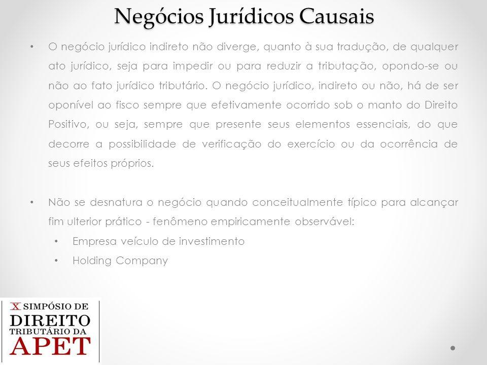 Negócios Jurídicos Causais O negócio jurídico indireto não diverge, quanto à sua tradução, de qualquer ato jurídico, seja para impedir ou para reduzir