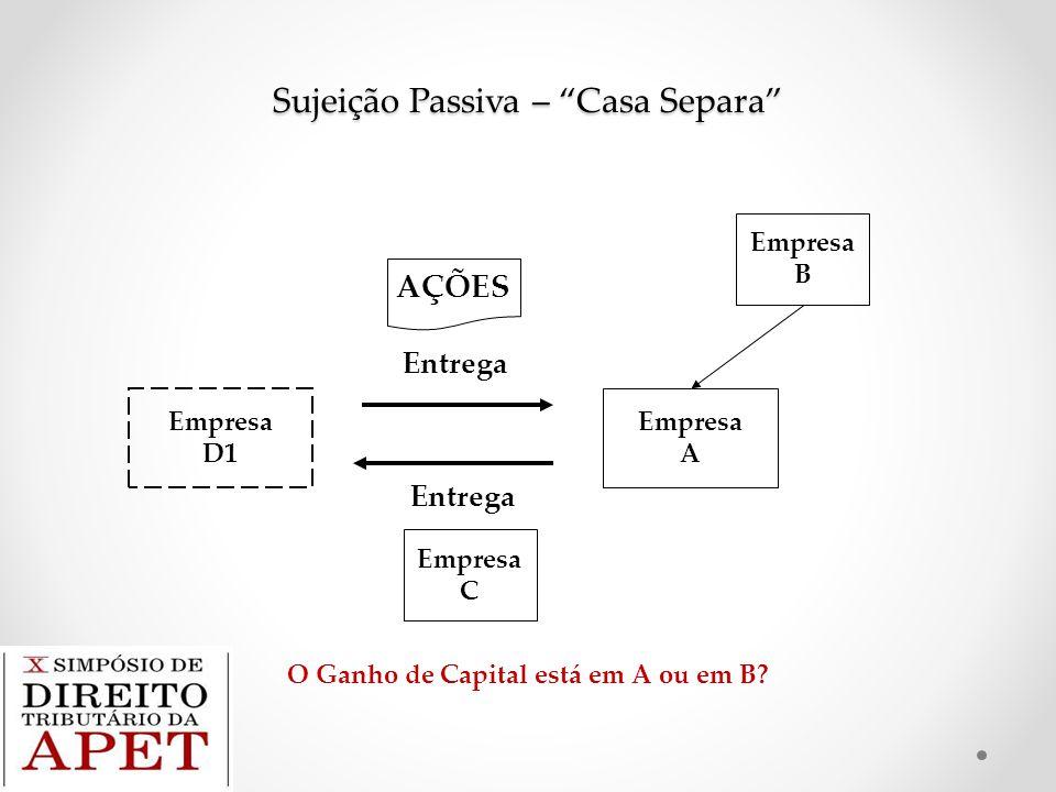 """Sujeição Passiva – """"Casa Separa"""" Empresa D1 Empresa A Entrega Empresa C Empresa B Entrega AÇÕES O Ganho de Capital está em A ou em B?"""