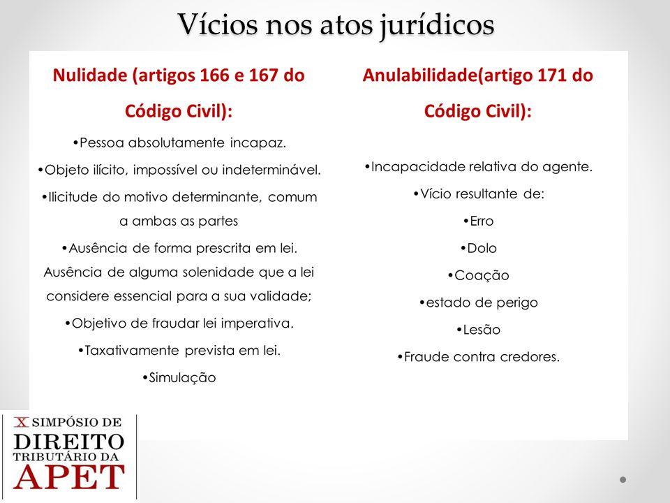 Relação entre os vícios do negócio jurídico e o fato jurídico tributário Os vícios não podem ser causa de tributar.