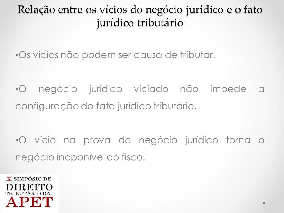 Relação entre os vícios do negócio jurídico e o fato jurídico tributário Os vícios não podem ser causa de tributar. O negócio jurídico viciado não imp