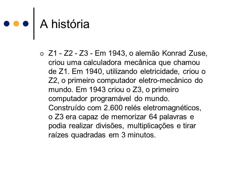 A história o Z1 - Z2 - Z3 - Em 1943, o alemão Konrad Zuse, criou uma calculadora mecânica que chamou de Z1. Em 1940, utilizando eletricidade, criou o