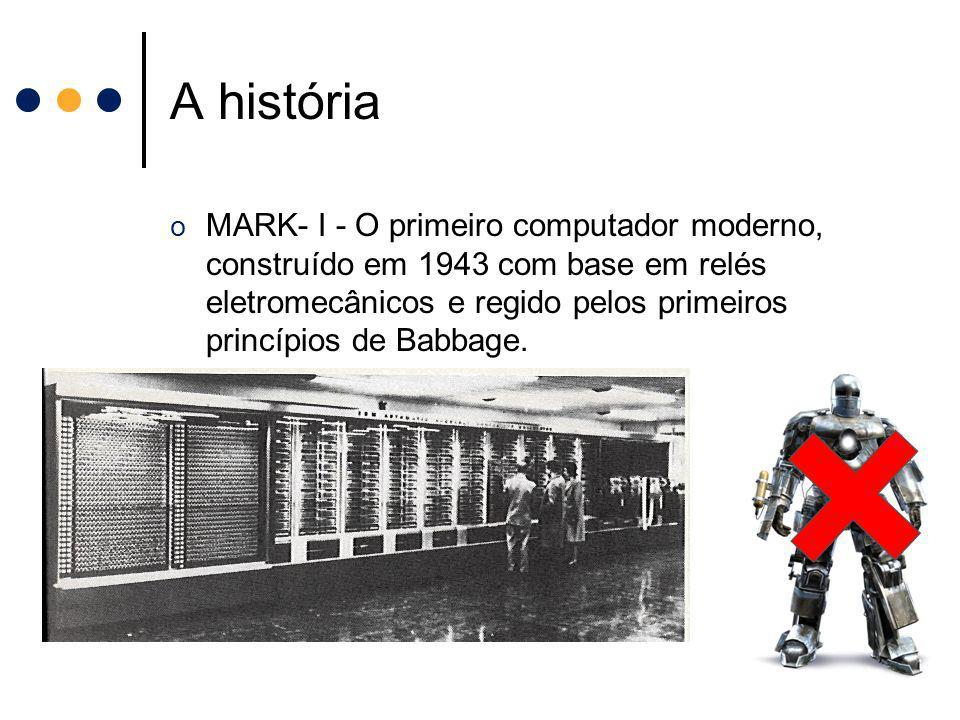 A história o MARK- I - O primeiro computador moderno, construído em 1943 com base em relés eletromecânicos e regido pelos primeiros princípios de Babb