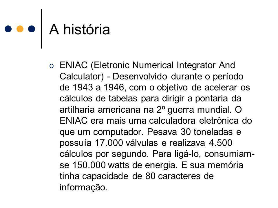A história o ENIAC (Eletronic Numerical Integrator And Calculator) - Desenvolvido durante o período de 1943 a 1946, com o objetivo de acelerar os cálc