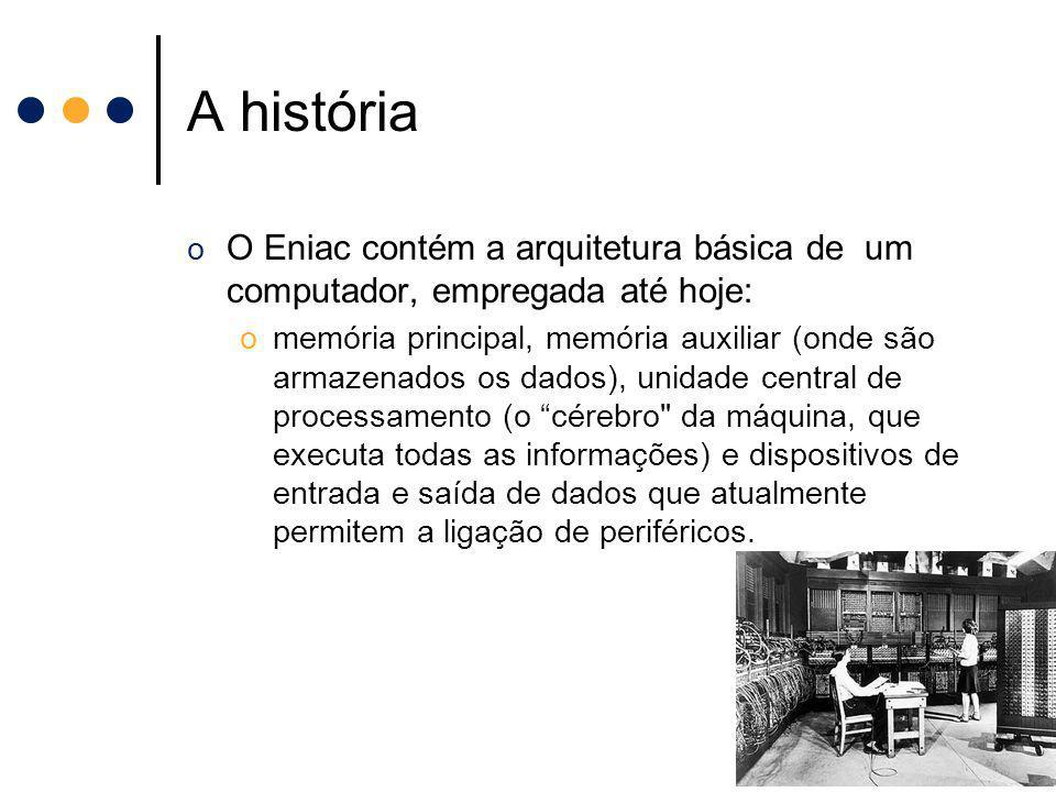 A história o O Eniac contém a arquitetura básica de um computador, empregada até hoje: omemória principal, memória auxiliar (onde são armazenados os d
