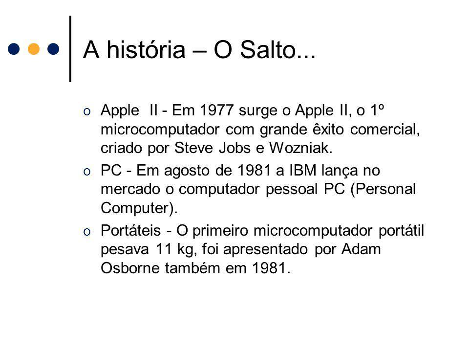 A história – O Salto... o Apple II - Em 1977 surge o Apple II, o 1º microcomputador com grande êxito comercial, criado por Steve Jobs e Wozniak. o PC