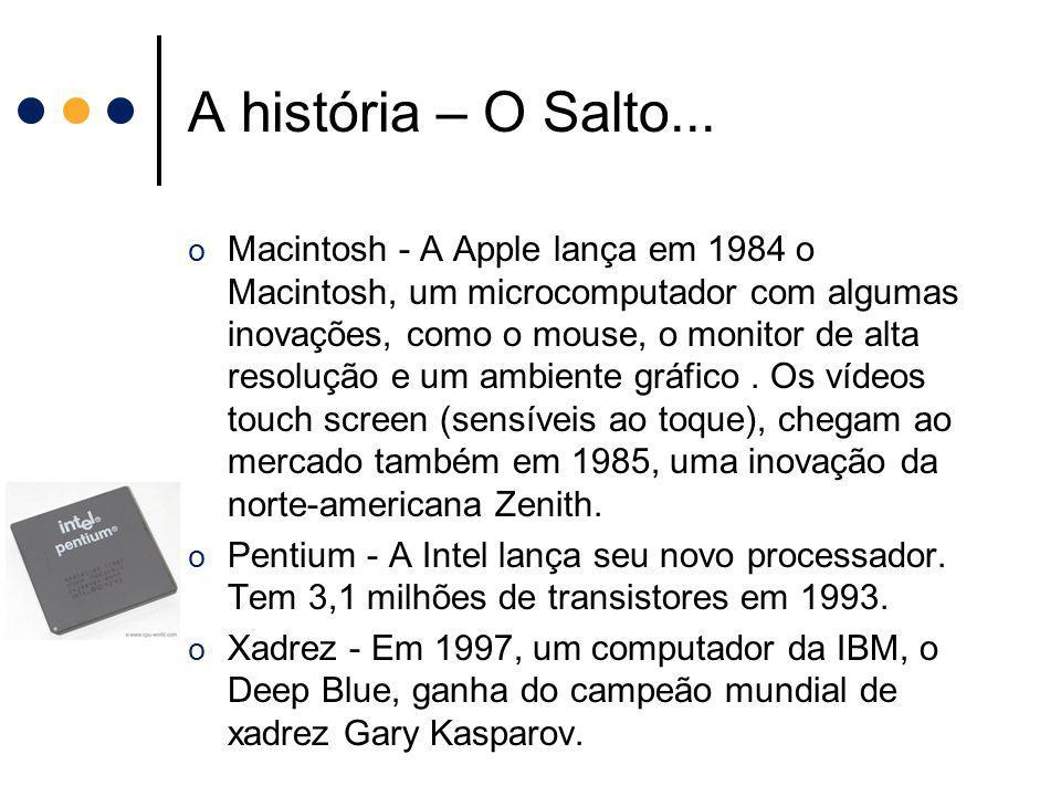 A história – O Salto... o Macintosh - A Apple lança em 1984 o Macintosh, um microcomputador com algumas inovações, como o mouse, o monitor de alta res