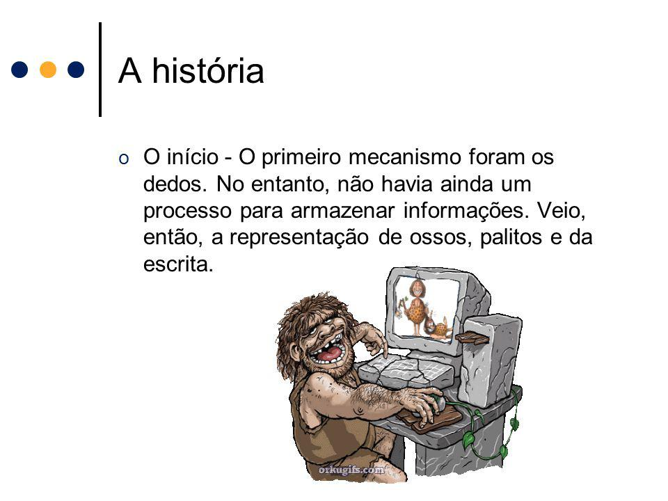 A história o O início - O primeiro mecanismo foram os dedos. No entanto, não havia ainda um processo para armazenar informações. Veio, então, a repres
