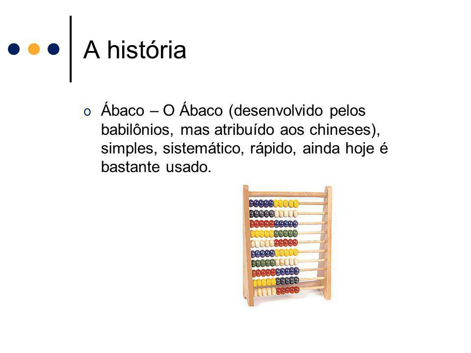 A história o Ábaco – O Ábaco (desenvolvido pelos babilônios, mas atribuído aos chineses), simples, sistemático, rápido, ainda hoje é bastante usado.