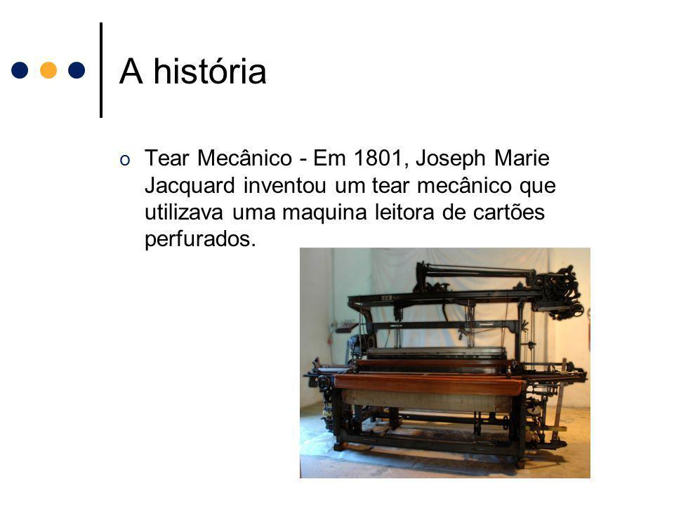 A história o Tear Mecânico - Em 1801, Joseph Marie Jacquard inventou um tear mecânico que utilizava uma maquina leitora de cartões perfurados.
