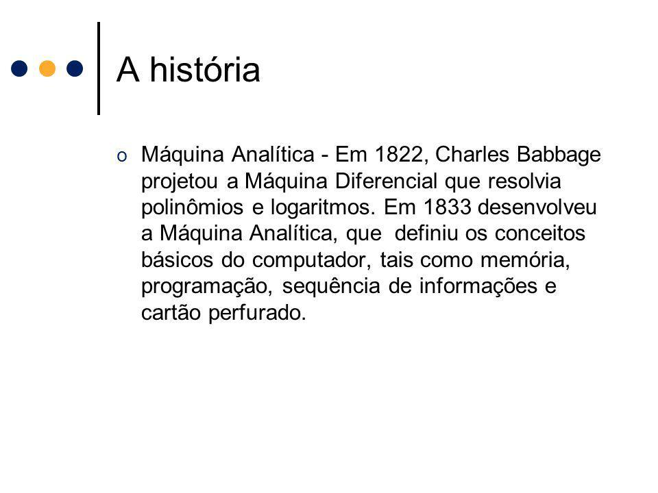 A história o Máquina Analítica - Em 1822, Charles Babbage projetou a Máquina Diferencial que resolvia polinômios e logaritmos. Em 1833 desenvolveu a M