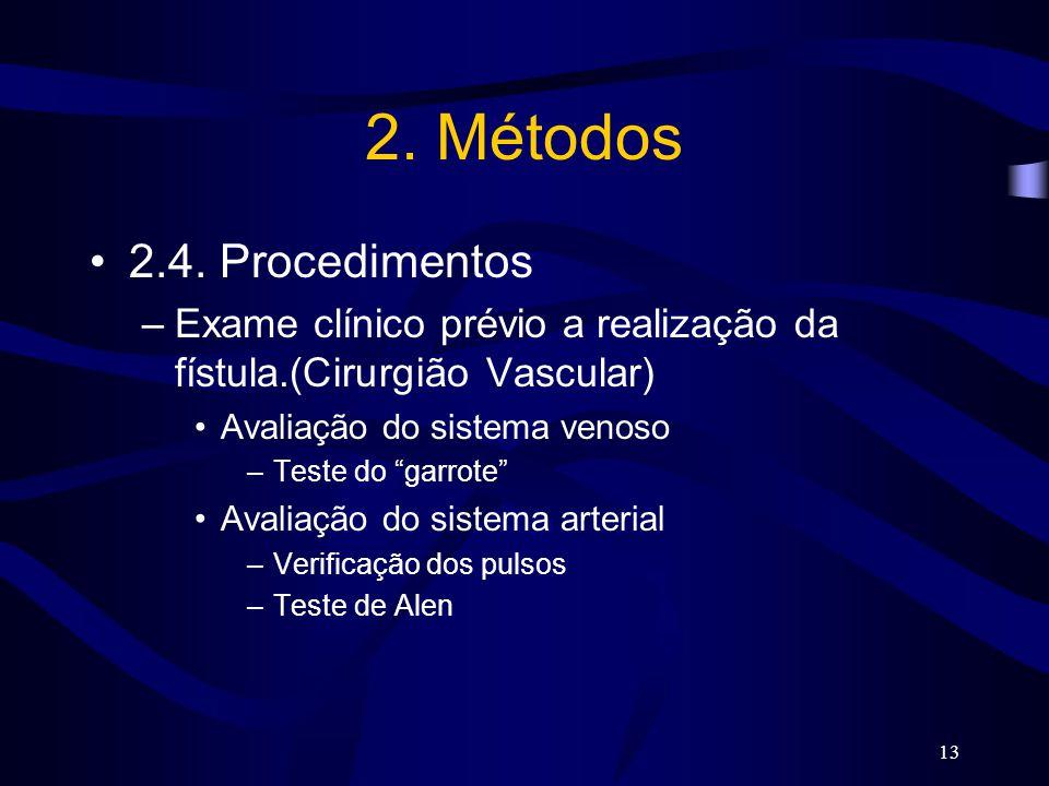 """13 2. Métodos 2.4. Procedimentos –Exame clínico prévio a realização da fístula.(Cirurgião Vascular) Avaliação do sistema venoso –Teste do """"garrote"""" Av"""