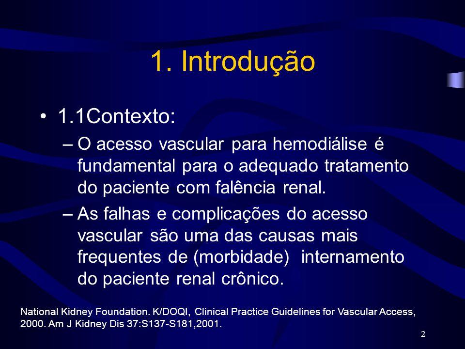 2 1. Introdução 1.1Contexto: –O acesso vascular para hemodiálise é fundamental para o adequado tratamento do paciente com falência renal. –As falhas e