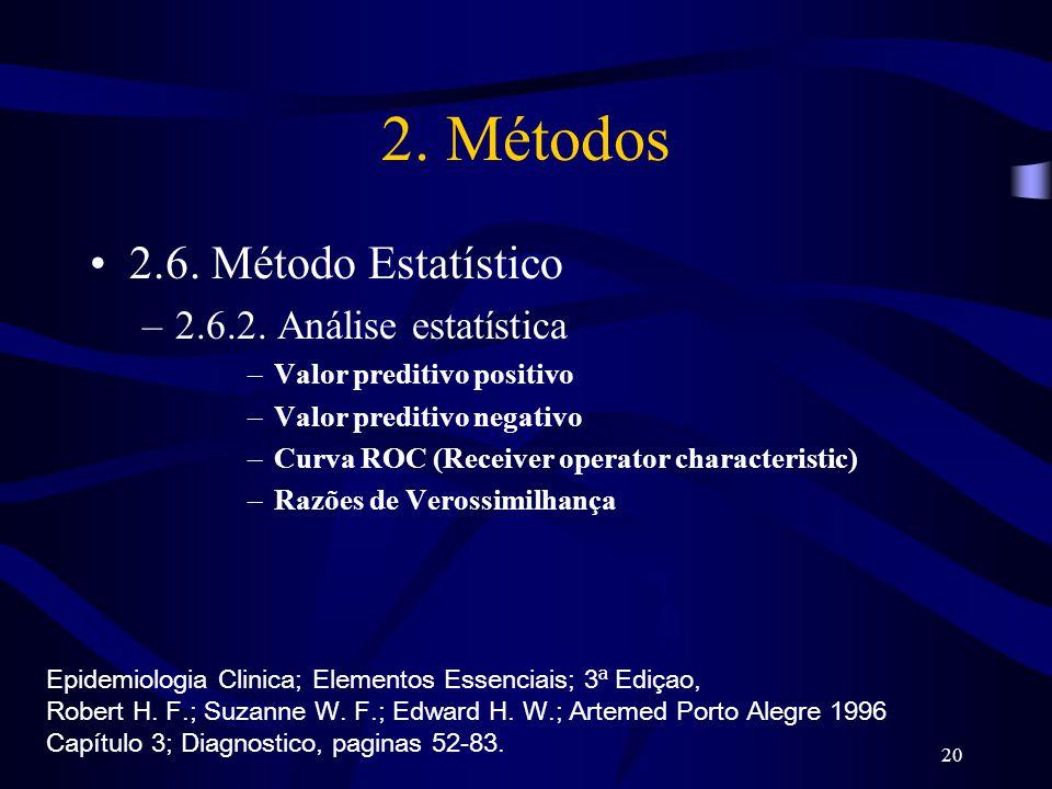 20 2. Métodos 2.6. Método Estatístico –2.6.2. Análise estatística –Valor preditivo positivo –Valor preditivo negativo –Curva ROC (Receiver operator ch