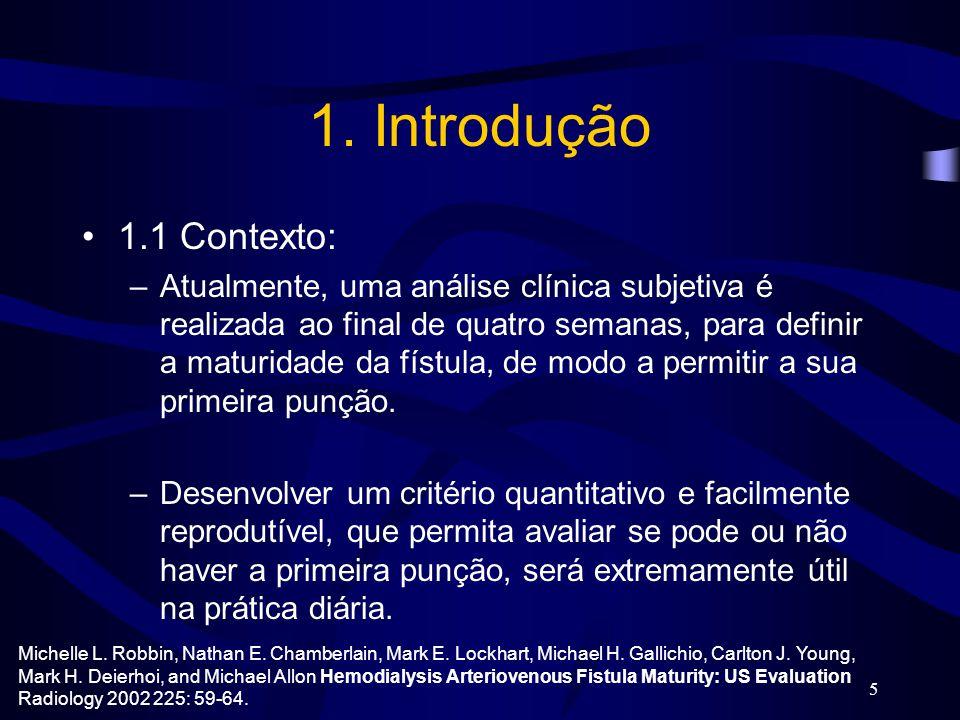 5 1. Introdução 1.1 Contexto: –Atualmente, uma análise clínica subjetiva é realizada ao final de quatro semanas, para definir a maturidade da fístula,