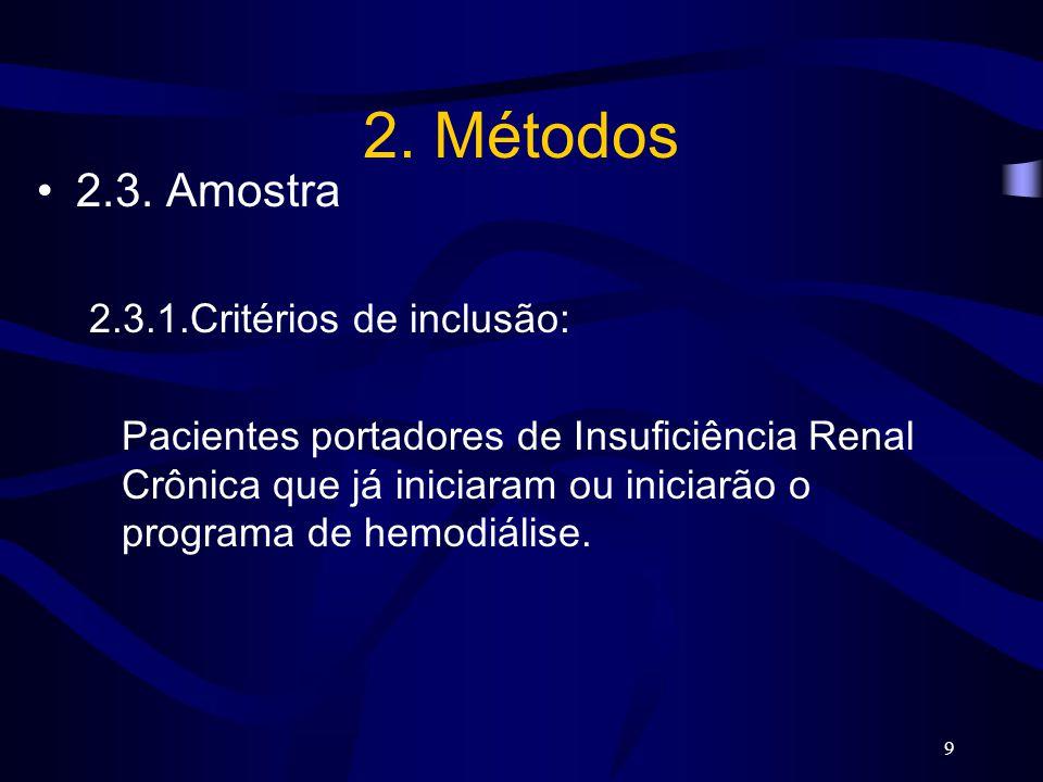 9 2. Métodos 2.3. Amostra 2.3.1.Critérios de inclusão: Pacientes portadores de Insuficiência Renal Crônica que já iniciaram ou iniciarão o programa de