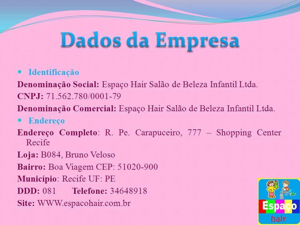 Identificação Denominação Social: Espaço Hair Salão de Beleza Infantil Ltda. CNPJ: 71.562.780/0001-79 Denominação Comercial: Espaço Hair Salão de Bele