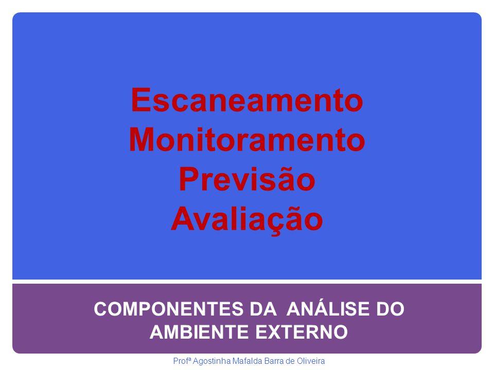 Escaneamento Monitoramento Previsão Avaliação COMPONENTES DA ANÁLISE DO AMBIENTE EXTERNO Profª Agostinha Mafalda Barra de Oliveira