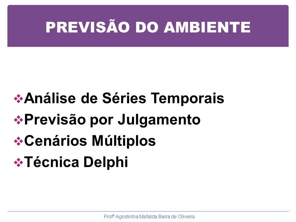 PREVISÃO DO AMBIENTE  Análise de Séries Temporais  Previsão por Julgamento  Cenários Múltiplos  Técnica Delphi Profª Agostinha Mafalda Barra de Ol