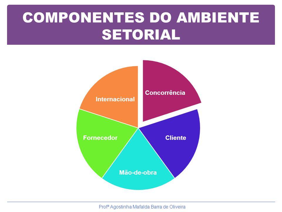COMPONENTES DO AMBIENTE SETORIAL Concorrência Cliente Mão-de-obra Fornecedor Internacional Profª Agostinha Mafalda Barra de Oliveira