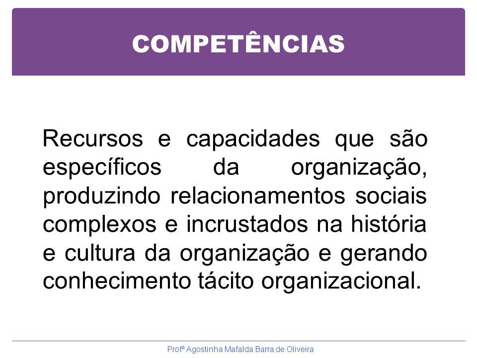 COMPETÊNCIAS Recursos e capacidades que são específicos da organização, produzindo relacionamentos sociais complexos e incrustados na história e cultu