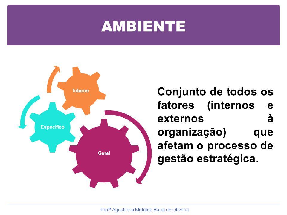 AMBIENTE Geral Específico Interno Conjunto de todos os fatores (internos e externos à organização) que afetam o processo de gestão estratégica. Profª