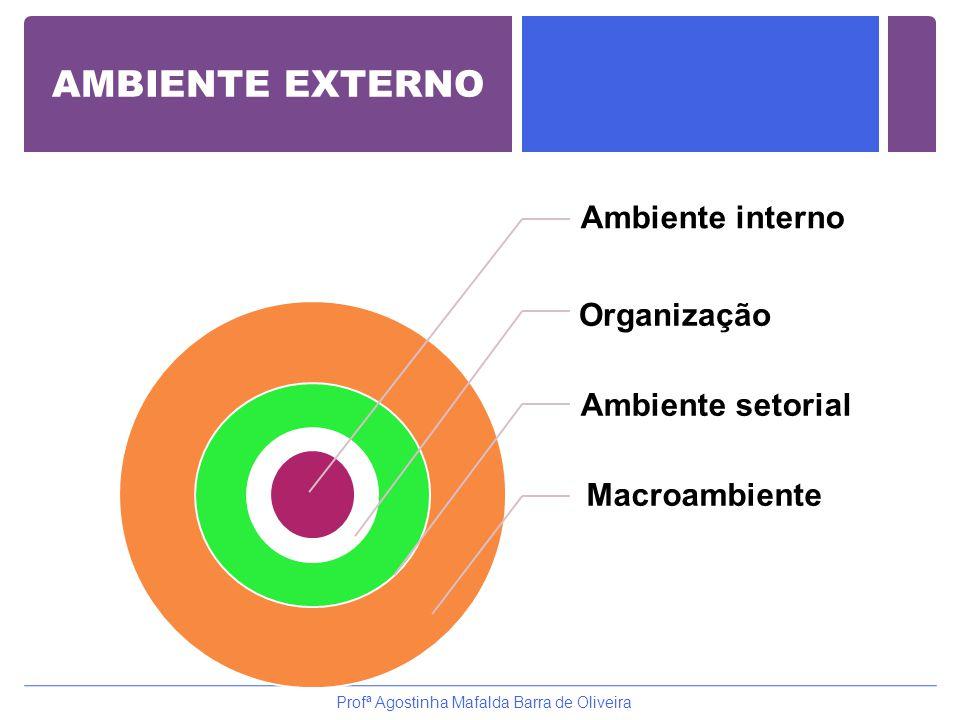 Ambiente interno Organização Ambiente setorial Macroambiente Profª Agostinha Mafalda Barra de Oliveira AMBIENTE EXTERNO