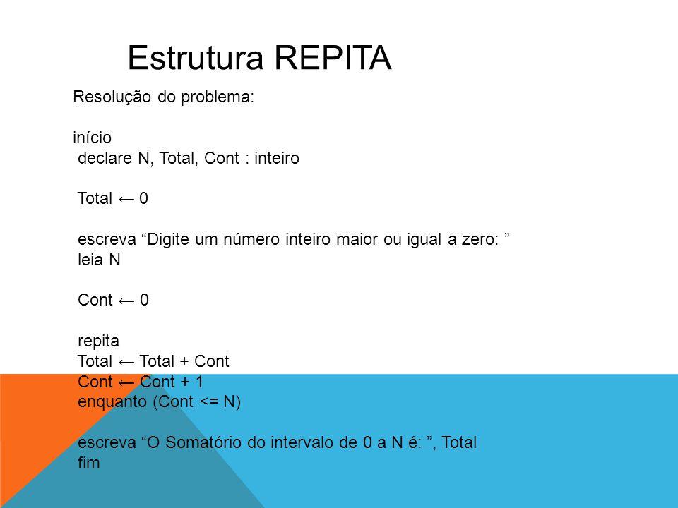 """Estrutura REPITA Resolução do problema: início declare N, Total, Cont : inteiro Total ← 0 escreva """"Digite um número inteiro maior ou igual a zero: """" l"""