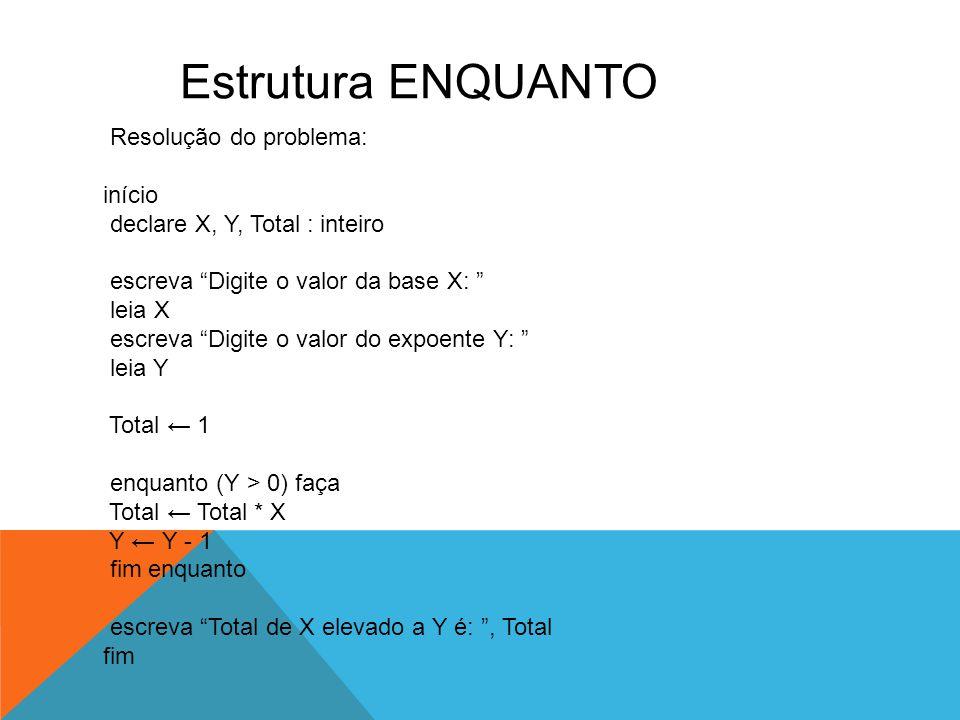 """Estrutura ENQUANTO Resolução do problema: início declare X, Y, Total : inteiro escreva """"Digite o valor da base X: """" leia X escreva """"Digite o valor do"""