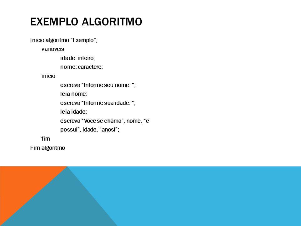 "EXEMPLO ALGORITMO Inicio algoritmo ""Exemplo""; variaveis idade: inteiro; nome: caractere; inicio escreva ""Informe seu nome: ""; leia nome; escreva ""Info"