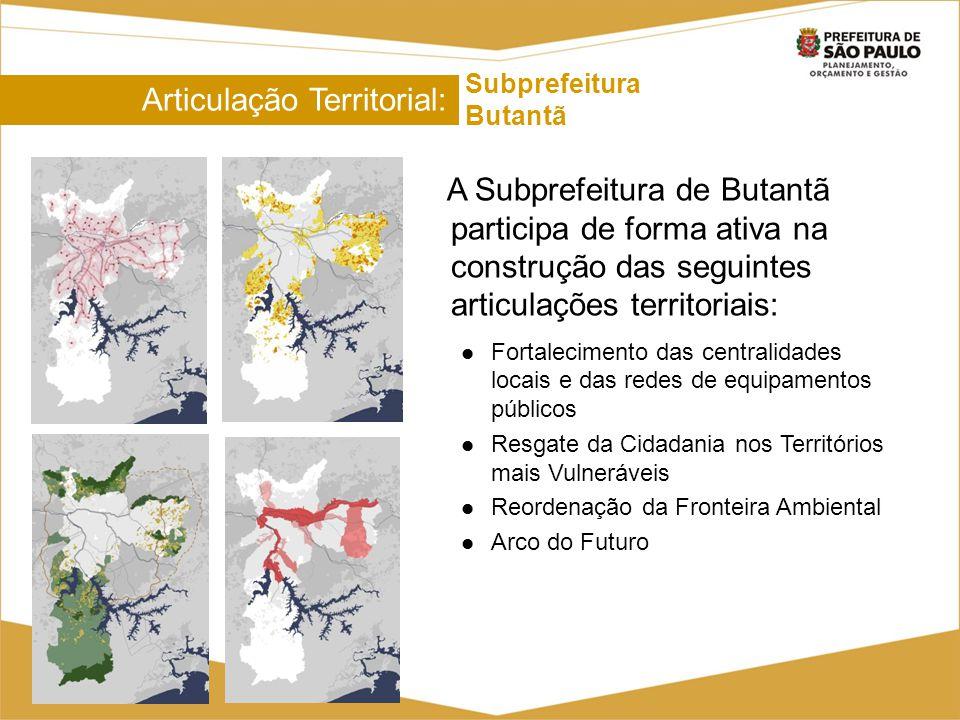 Articulação Territorial: Subprefeitura Butantã A Subprefeitura de Butantã participa de forma ativa na construção das seguintes articulações territoria