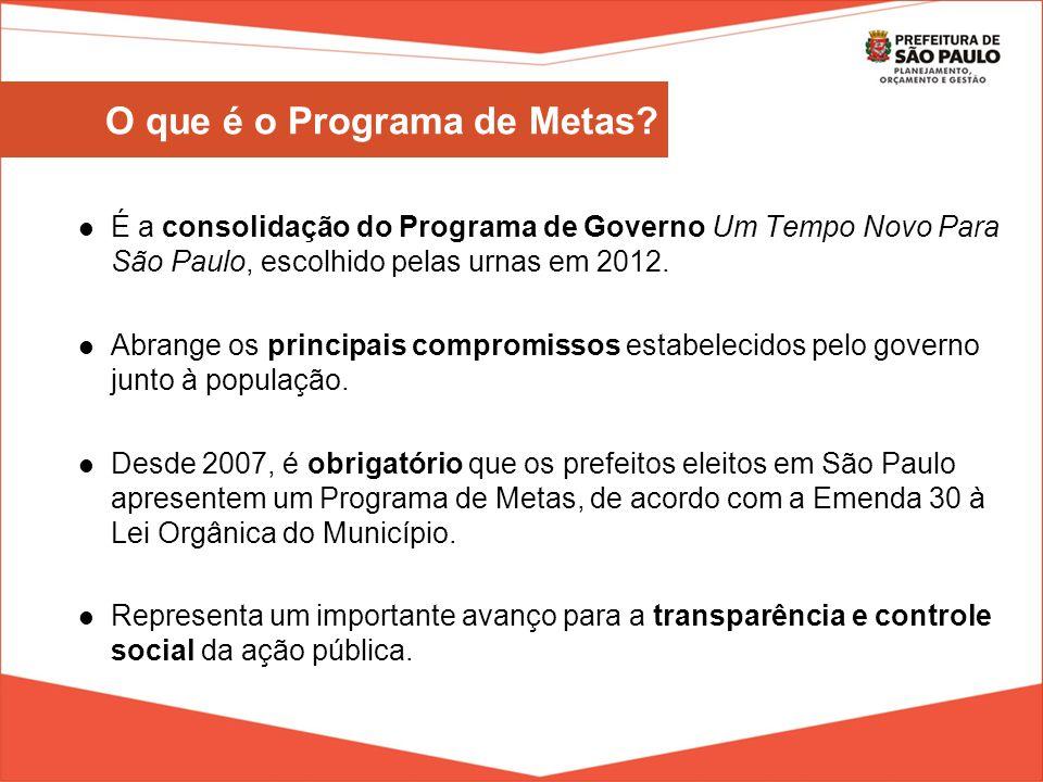 É a consolidação do Programa de Governo Um Tempo Novo Para São Paulo, escolhido pelas urnas em 2012. Abrange os principais compromissos estabelecidos