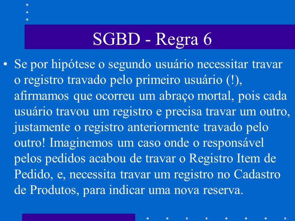 SGBD - Regra 6 Regra 6: Acesso Automático- Em um GA uma situação típica é o chamado Dead-Lock, o abraço mortal. Esta situação indesejável pode ocorrer
