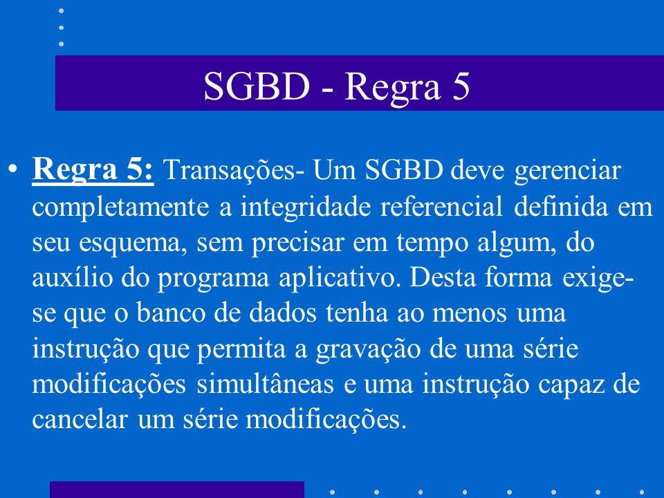 SGBD - Regra 4 Regra 4: Visões- Um SGBD deve permitir que cada usuário visualize os dados de forma diferente daquela existente previamente no Banco de