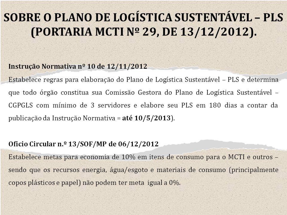 SOBRE O PLANO DE LOGÍSTICA SUSTENTÁVEL – PLS (PORTARIA MCTI Nº 29, DE 13/12/2012).